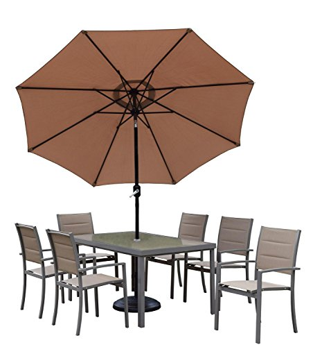 9' 9 Pc. Outdoor Sand Colored Padded Sling Patio Dining Set with Umbrella with Black Pole