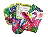 Mainstay Flamingo 6 piece Kitchen Linens Oven Mitt Pot Holder Towel Flamingo Cookie Cutter Recipe Card Bundle