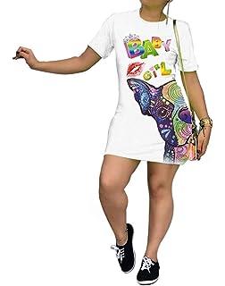 BEAUTYVAN Womens Vintage Off The Shoulder Dress Rock Graphic Long T Shirt Mini Dress