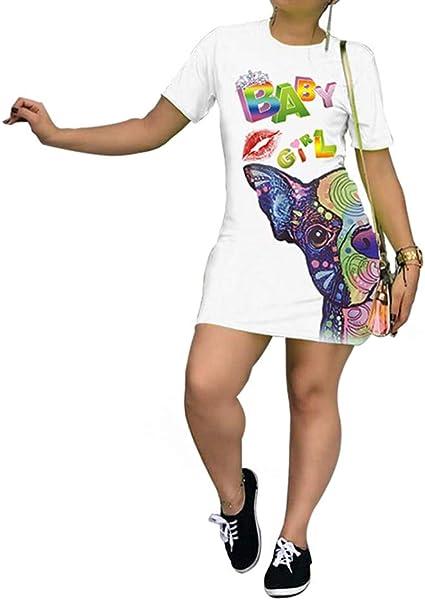 Womens Casual Short Sleeve T-Shirt Dress,Loose Letter Print Simple Basic Mini Dress