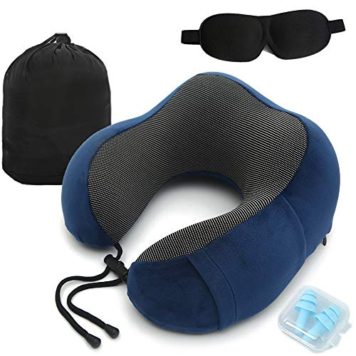 Travel Pillow Adjustable Memory Foam Neck Pillow, Sleep Mask and Earbuds Included, Soft and Comfortable Memory Foam U Travel Pillow with Washable Cover, Perfect for Sleeping and Resting in Anywhere