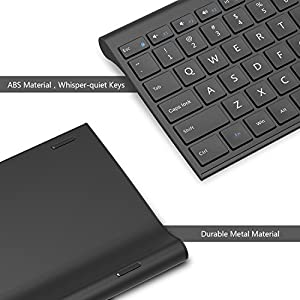 Wireless Keyboard Mouse, Jelly Comb 2.4GHz Ultra Slim Full Size Rechargeable Wireless Keyboard and Mouse Combo for Windows, Laptop, Notebook, PC, Desktop, Computer (Black)