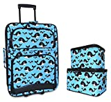 Ever Moda 3-Piece Carry On Luggage Set with Wheels for Travels, Blue Orca Whale