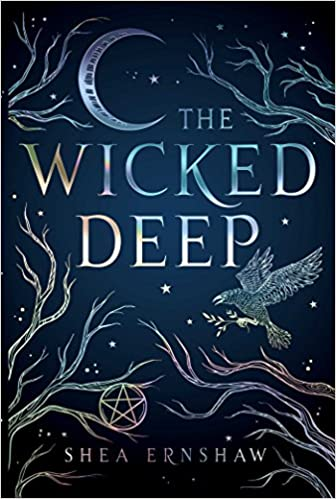 Collection sample book cover The Wicked Deep, crow perched on a branch at night