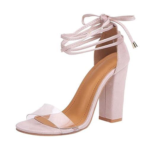 8832af6a Minetom Sandalias Mujeres Verano Peep Toe Zapatos De Playa Moda Casual  Tacones Altos Tacón Ancho Transparente Cordones Fiesta Elegante Shoes:  Amazon.es: ...