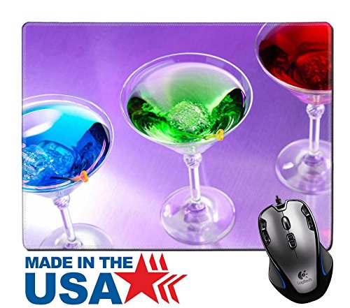 """ouse Pad/Mat with Stitched Edges 9.8"""" x 7.9"""" IMAGE ID 27593702 Exotic cocktails in purple light (Martini Pub Table)"""