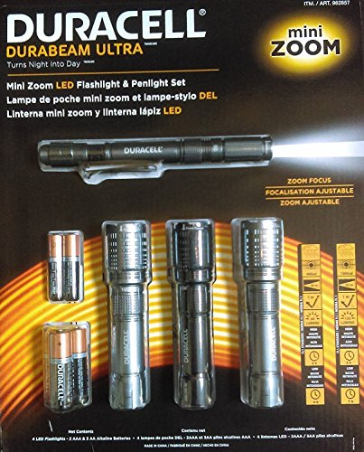 Duracell Durabeam Ultra Mini Zoom LED Flashlight & Penlight Set (4 pack)