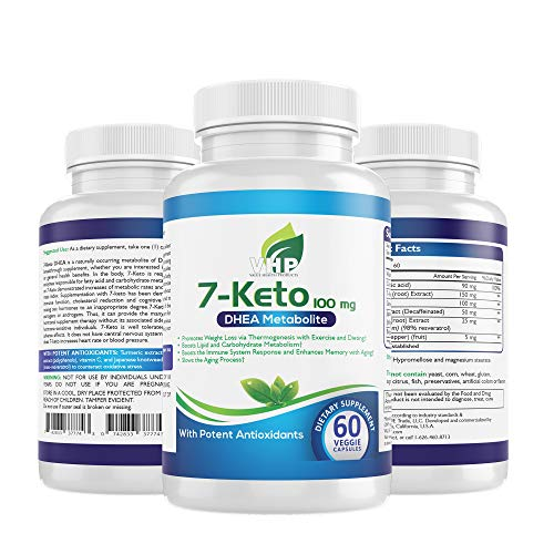 VALUE HEALTH PRODUCTS; 7-Keto DHEA 100 mg, Curcumin, Green Tea Extract, Resveratrol, Vitamin C & Bioperine Supplement; 60 Veg Ct; Anti-Aging; Supports Thyroid, Energy, Libido, Cognition & Immunity.
