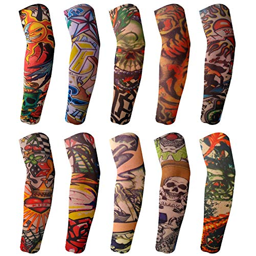 BodyJ4You 10PC Fake Tattoo Sleeve Temporary Arm Cover Design Halloween Skull Sun Rose Art Costume