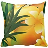 Damuyas Hawaiian Luau Tropical Food Square Cushion Cover Throw Pillow Case Home (flower)