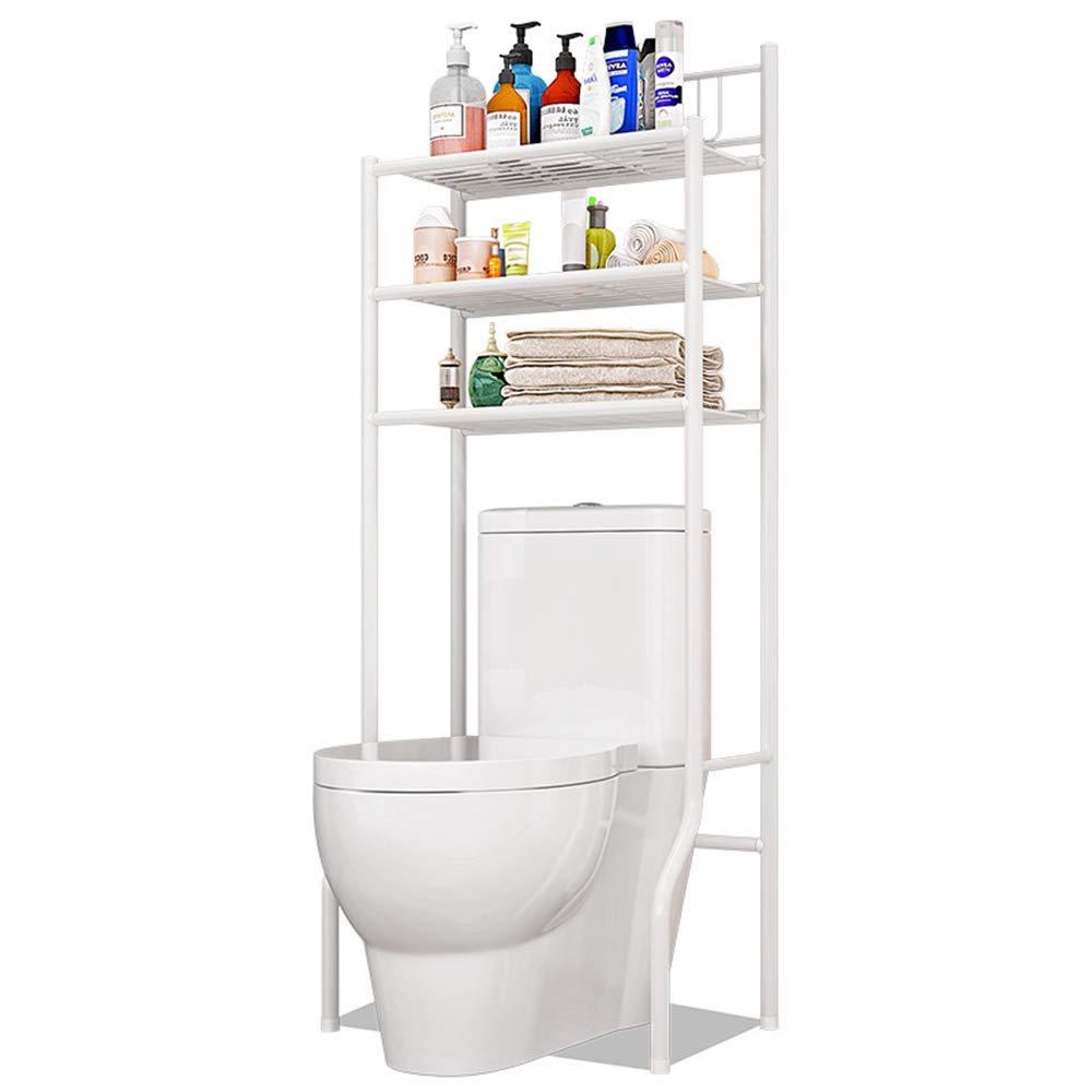 FKUO 3-Tier Bathroom Storage Rack Over The Toilet Storage Rack Finishing Shelf - White (White) by FKUO