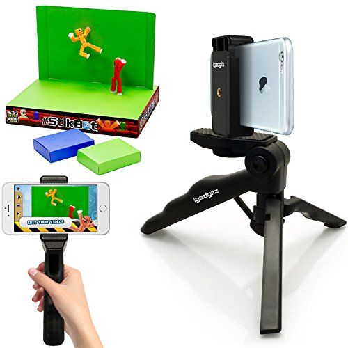 iGadgitz 2 in 1 Pistol Grip Stabilizer and Mini Lightweight Table Top Stand Tripod + Universal Smartphone Holder Mount Bracket Adapter for StikBot Studio Video Filming (StikBot not included)