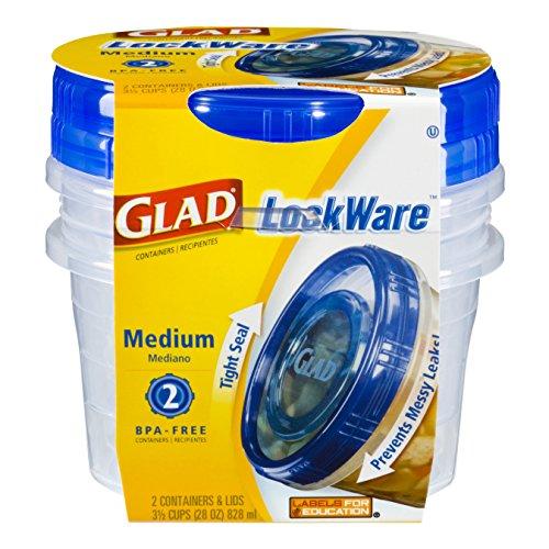 Glad Food Storage Containers, LockWare Medium, 28 Ounce, 2 C