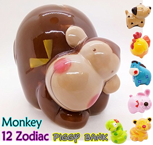 (WitnyStore Piggy Bank Ceramic 12 Zodiac Handmade Paint Coat Decor Collect coin Quality Cute (Monkey))