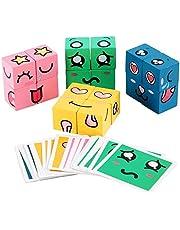 Starmood Träbyggklossar leksak emoji matchande pussel pedagogiska leksaker för småbarn pojkar flickor stapla spel träpussel