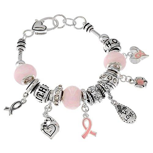Pink Ribbon Glass Bead Charm Bracelet 7.5