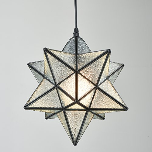Moroccan Star - YOBO Lighting Moravian Star Textured Glass Pendant Lamp 1 Light, 12-In