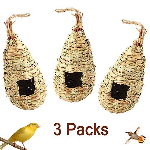 Chasoeo Bird Hut Bird House Bird Nest,Natural Hanging Grass Nest Straw Bird Nest,Woven Natural Roosting Pocket,Hand-Woven Teardrop Shaped Bird Nest,Cozy Resting Place for Birds