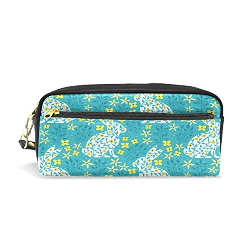 rint Rabbit Big Stationery Holder Cosmetic Bag with Zip Art Colored Pen Pouch for Kids Girls Boy (1 Pack) ()
