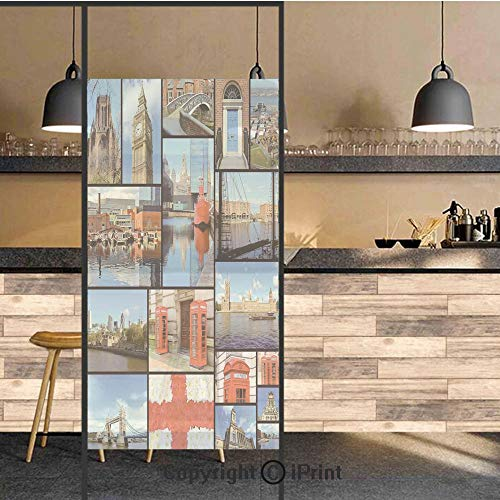3D Decorative Privacy Window Films,England City Red Telephone Booth Clock Tower Bridge River British Flag with Flowers,No-Glue Self Static Cling Glass film for Home Bedroom Bathroom Kitchen Office 24x ()
