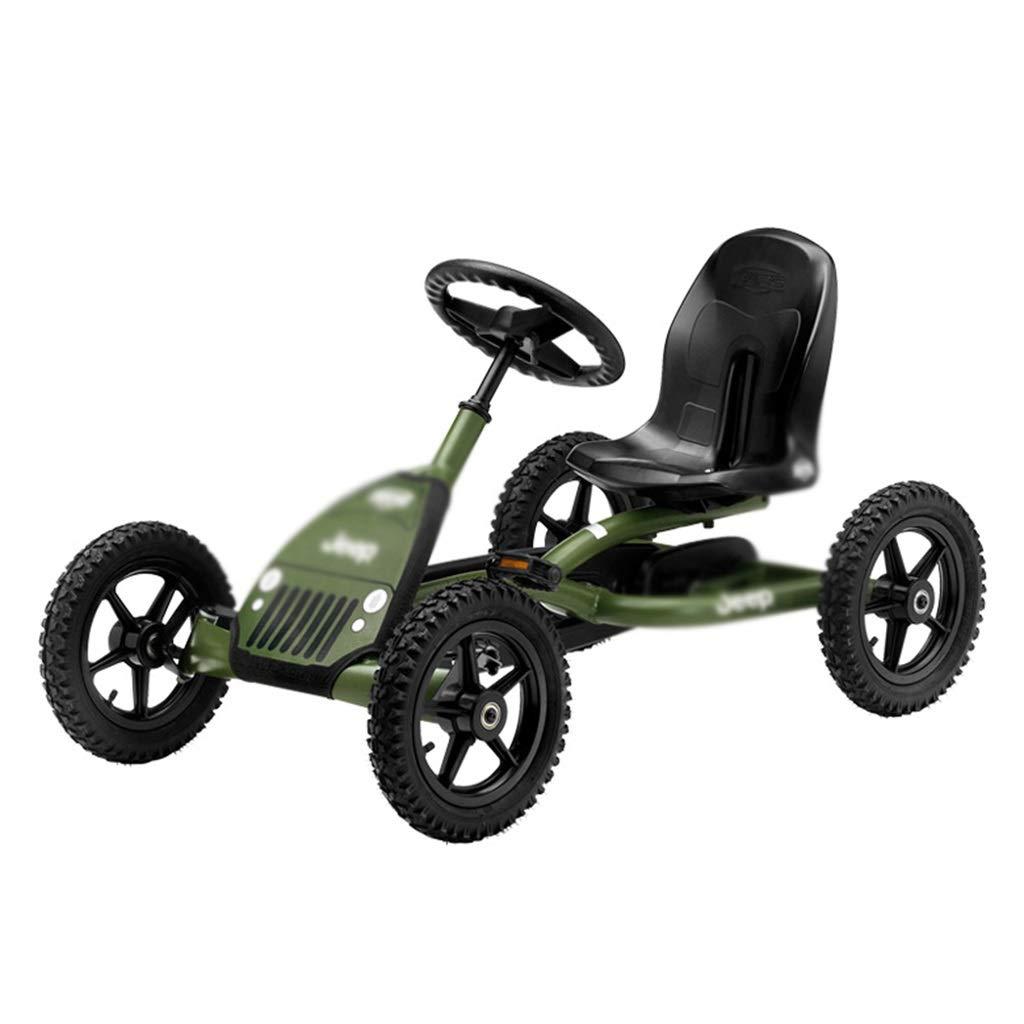Army Grün Kart Boy Kart vierrädriger Kart Jeep Spielzeugkarren Racing Lenkrad Design Sitz 3 einstellbar, maximale Last 50kg (Farbe   Grün, Größe   115  65  63CM) Grün 1156563CM