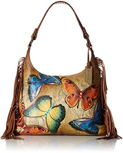 Anuschka Women's Genuine Leather Fringed Hobo Bag | Hobo Slouchy Shoulder Bag | Hand Painted Original Artwork | Earth Song