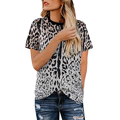 Womens Casual Shirts Leopard Print Round Neck Cute Tops Basic Short Sleeve Soft Blouse Loose Tee Tunic T Shirt