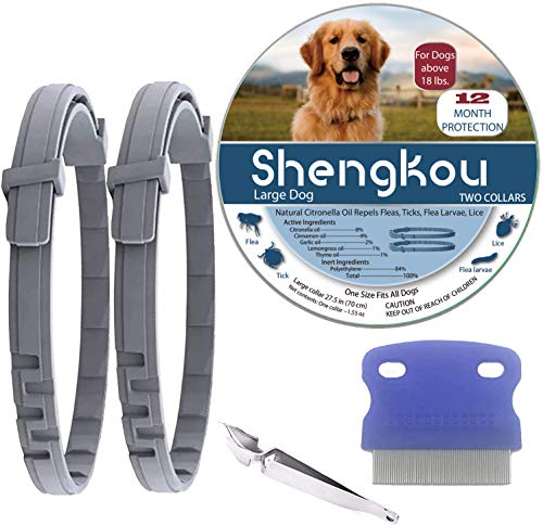 Flea and Tick Collar for Dog, Made with Natural Plant Based Essential Oil, Safe and Effective Repels Fleas and Ticks, Waterproof, Fits Large Dog, Free Comb, Charity! (2 Packs)