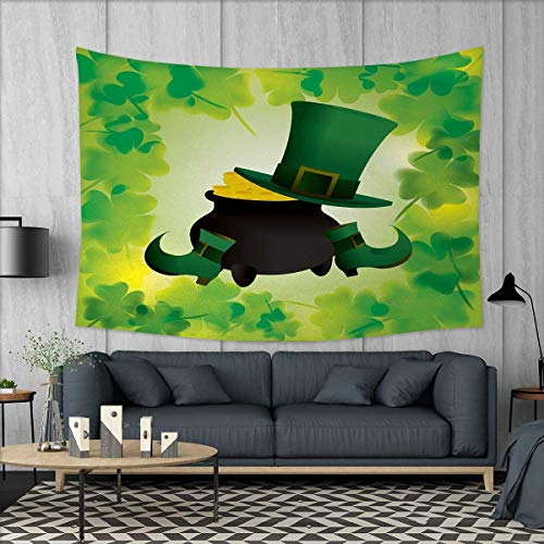 Anniutwo St. Patricks Day Large tablecloths Leprechaun Hat and Shoes Costume with Pot of Gold with Shamrock Leaves Wall Hanging Tapestries W84 x L54 (inch) Forest Green