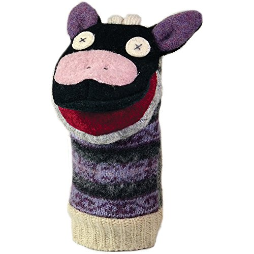 Cate and Levi 12 Handmade Cow Hand Puppet (Premium Reclaimed Wool), Colors Will Vary