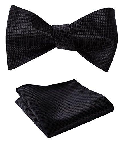 SetSense Men's Solid Jacquard Woven Self Bow Tie Set One Size ()