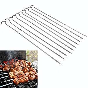 Pinchos de barbacoa, 10 piezas de acero inoxidable BBQ ...
