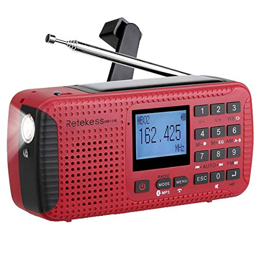 (Retekess HR11W NOAA Radio Weather Solar Emergency Dynamo AM FM Wind Up with SOS Flashlight Alarm MP3 Player Recorder Alarm Clock and Bluetooth (Red))