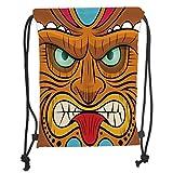 Custom Printed Drawstring Sack Backpacks Bags,Tiki Bar Decor,Cartoon Style Angry Looking Tiki Warrior Mask Colorful Icon Totem Culture Decorative,Multicolor Soft Satin,5 Liter Capacity,Adjustable Stri