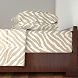 Roostery Tiger 3pc Sheet Set Zebra In Linen by Willowlanetextiles Twin Sheet Set made with