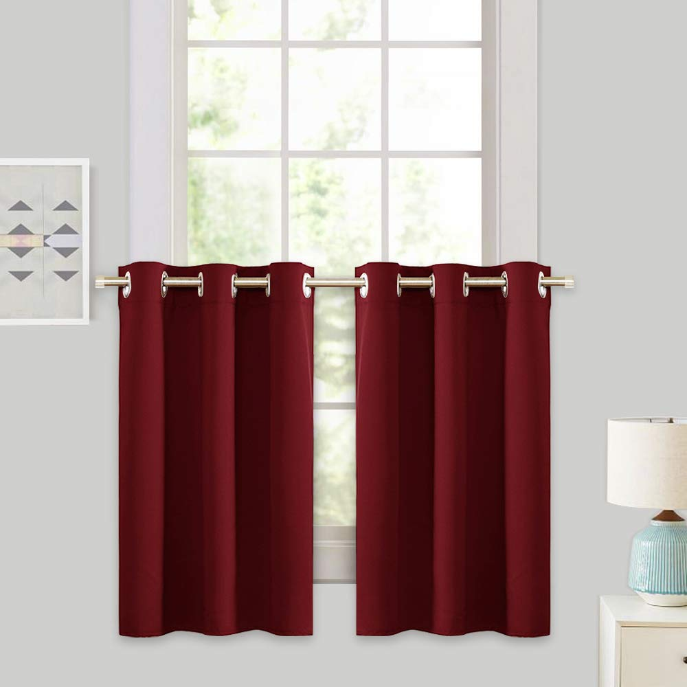RYB HOME Décor Kitchen Cabinet Closet Curtain Shades, Half Window Tier Curtains for Baby Nursery, Versatile Small Blackout Curtains for Bedroom, 42 x 36 inches Each Panel,Burgundy Red, 2 Pieces