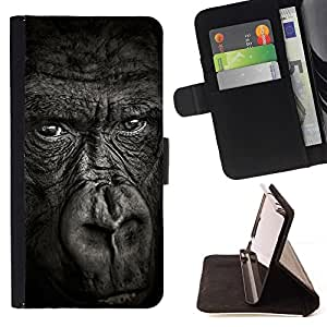Momo Phone Case / Flip Funda de Cuero Case Cover - Gorilla Noir Nature animale - Samsung ALPHA G850