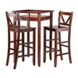 Winsome Wood Halo 3 Piece Pub Table Set with 2 V-Back Stools