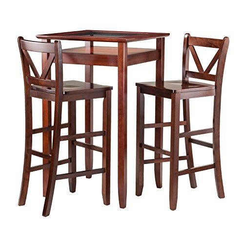Winsome Wood Halo 3 Piece Pub Table Set with 2 V-Back Stools (Beech Desk Set)