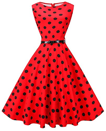 VOGVOG Women's Audrey Hepburn Sleeveless Plus Size Vintage Tea Dress with Belt,Big Dot Red,XX-Large