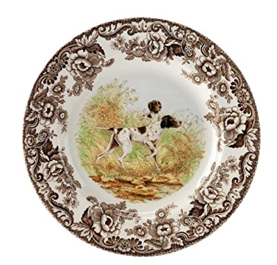 Spode Woodland Hunting Dogs Flat Coated Pointer Salad Plate