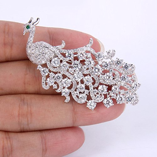 EVER FAITH Women's Full Cubic Zirconia Elegant Peacock Bird Animal Brooch Pin Clear