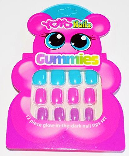 Yoyo Nails Gummies 12 Piece Glow-in-the-Dark Nail Tip Set for Kids (Glow 12 Piece)