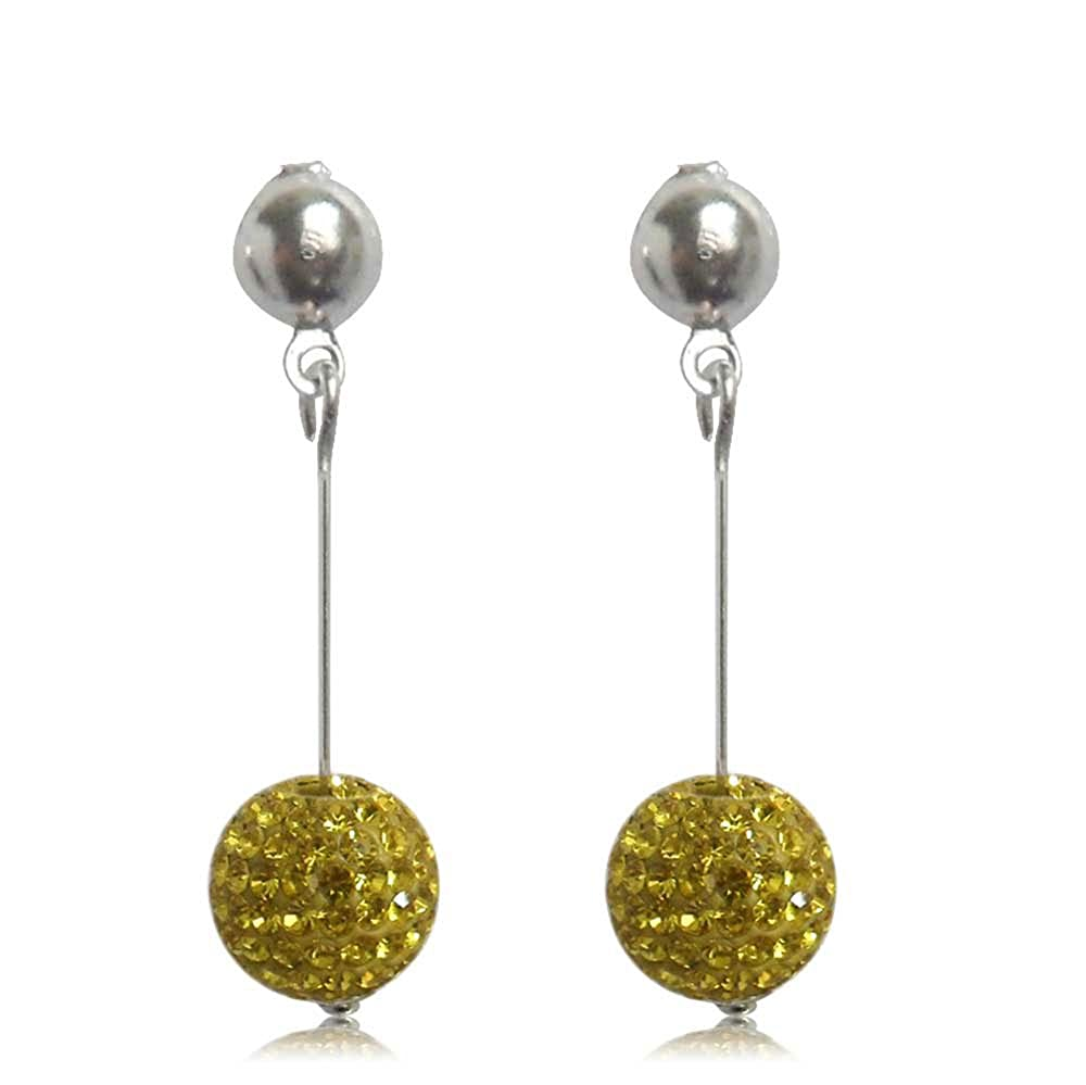 GiftJewelryShop 15MM Sterling Silver Plated Yellow Disco Crystal Ball Dangle Earrings