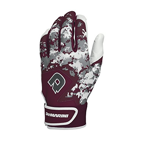 DeMarini Digi Camo II Youth Batting Gloves, Maroon, Small, Pair