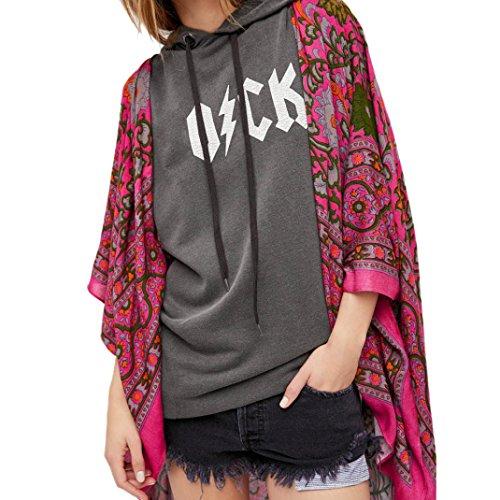 Blouse Women 8455 Kingwo Blouse Chiffon Top Top Print Purple Loose Shawl Beach Kimono Cover Cover Cardigan qP6EBt