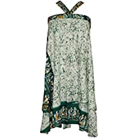 Women's Beach Wraps Green Floral Print Two Layer Reversible Silk Sari Skirts