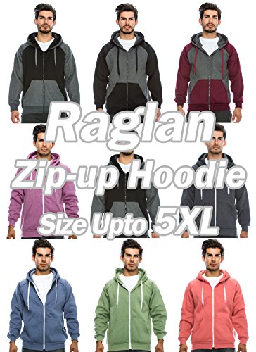 JC DISTRO Men's Raglan Hooded Unisex Zip up Fleece Hoodie Jacket (Big Size upto 5XL)