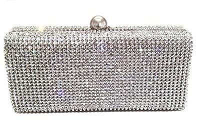 Dazzling Evening Bag Crystal Hard Case Clutch Handbag Purse for Women with Detachable Chain