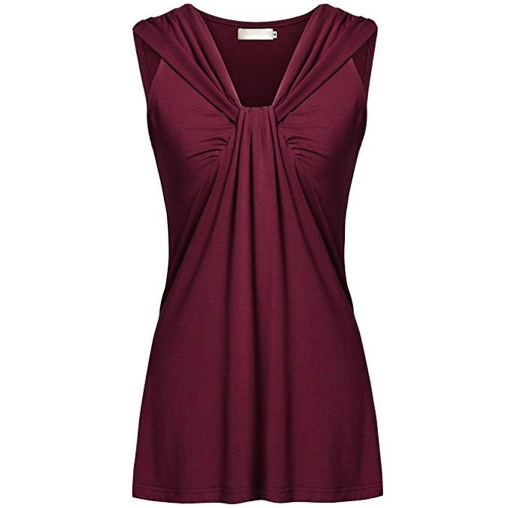 Hmlai Womens Plus Size Tank Tops Fashion Ruched V-neck Summer Sleeveless Casual Shirt Blouse (Wine Red, 2XL)